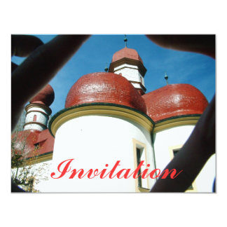Red domed roof church invitation