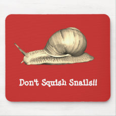 Red Don't Squish Snails Design Mouse Pad