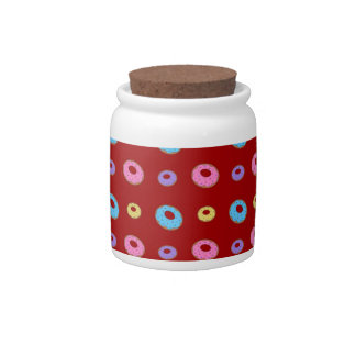 Red donut pattern candy dish