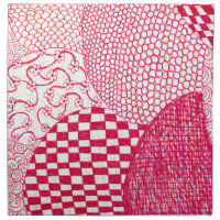 Red Doodle Cloth Napkin