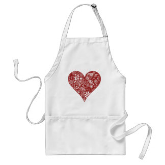 Red Doodle Heart Adult Apron