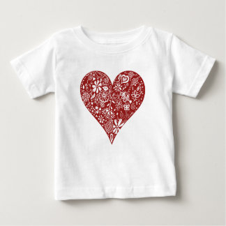 Red Doodle Heart Baby T-Shirt