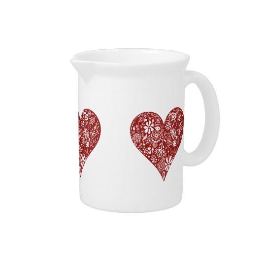 Red Doodle Heart Beverage Pitcher