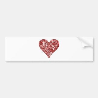 Red Doodle Heart Bumper Sticker