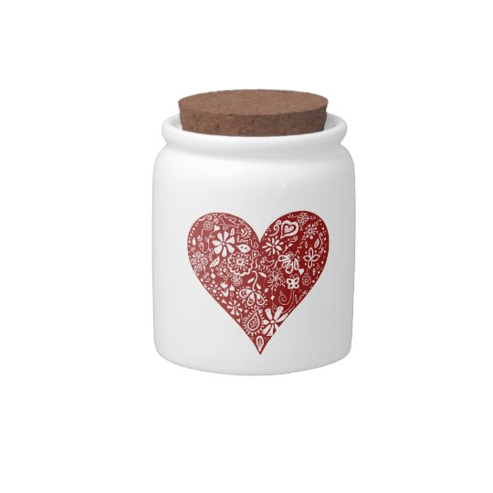 Red Doodle Heart Candy Dishes