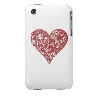 Red Doodle Heart Case-Mate iPhone 3 Case