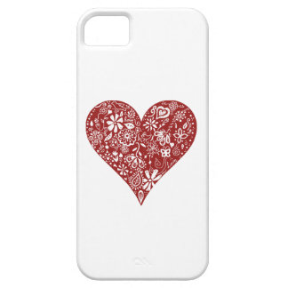 Red Doodle Heart iPhone 5 Cases