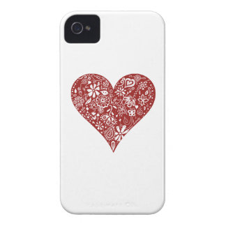 Red Doodle Heart Blackberry Bold Case