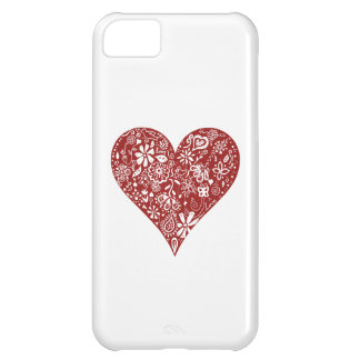 Red Doodle Heart iPhone 5C Covers