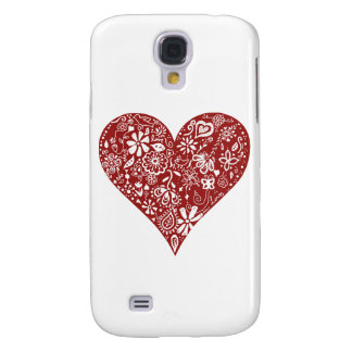 Red Doodle Heart HTC Vivid Cover