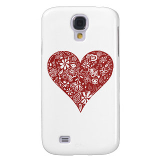 Red Doodle Heart Samsung Galaxy S4 Cases