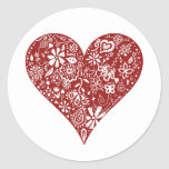 Red Doodle Heart Classic Round Sticker