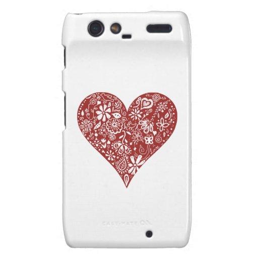 Red Doodle Heart Droid RAZR Case
