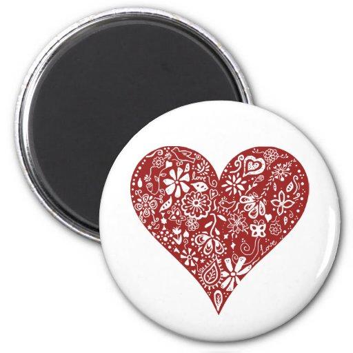 Red Doodle Heart Fridge Magnets