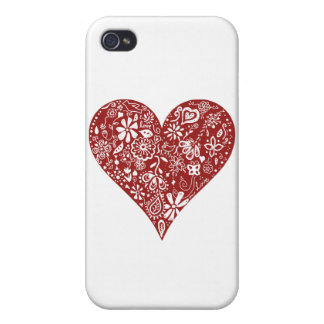 Red Doodle Heart iPhone 4/4S Cases