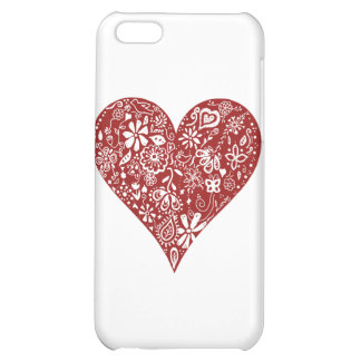 Red Doodle Heart iPhone 5C Cases