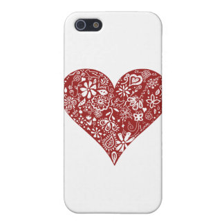 Red Doodle Heart iPhone 5 Covers