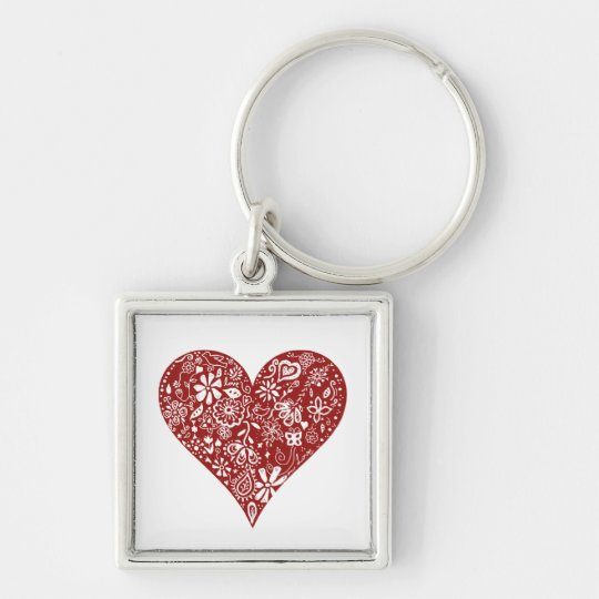 Red Doodle Heart Keychain
