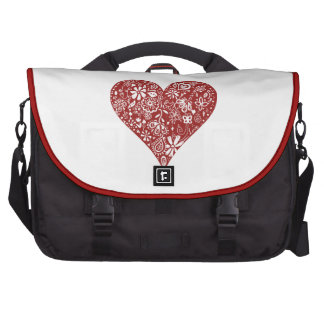 Red Doodle Heart Computer Bag