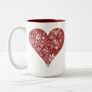 Red Doodle Heart Two-Tone Coffee Mug
