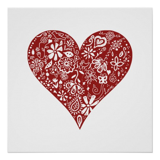 Red Doodle Heart Poster