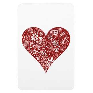Red Doodle Heart Rectangular Photo Magnet