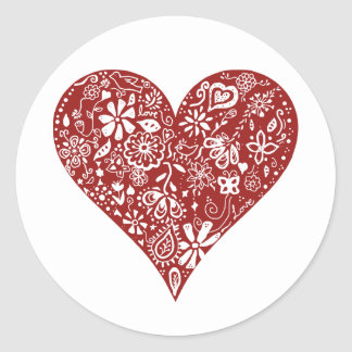 Red Doodle Heart Round Stickers