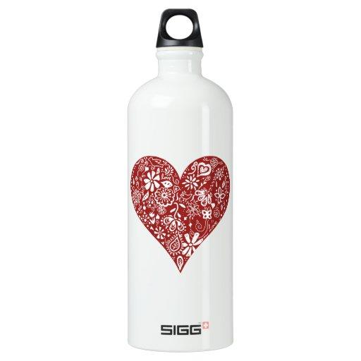 Red Doodle Heart SIGG Traveler 1.0L Water Bottle