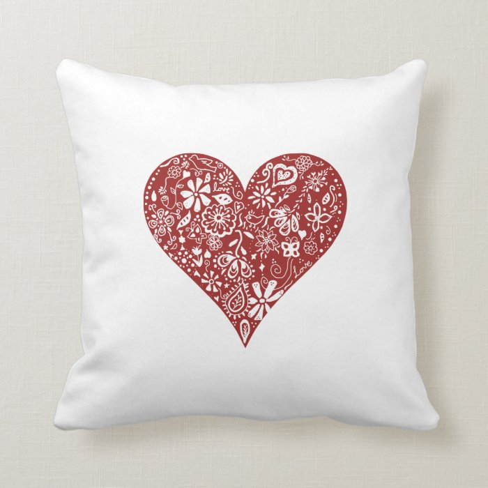 Red Heart Decorative Pillow : Red Doodle Heart Throw Pillow Zazzle