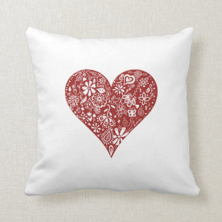 Red Doodle Heart Throw Pillow
