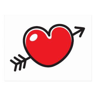 Red doodle love heart pierced by arrow postcard