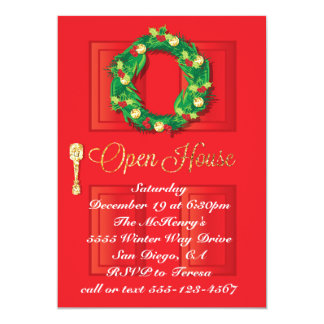 Red Door Christmas Holiday Open House with wreath Card