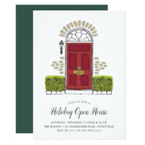 Red Door Holiday Open House Invitation