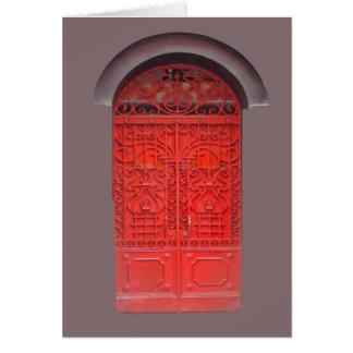 Red Door in Alley Greeting Cards