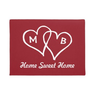 Valentines Themed Red door mat with interlocking hearts and initials