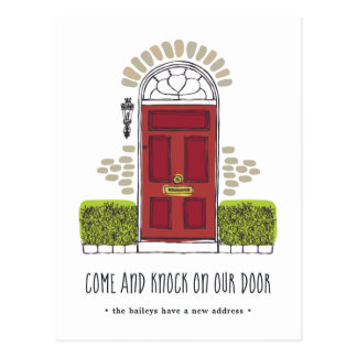Red Door Moving Announcement Postcard