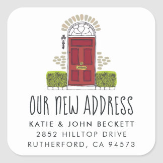 Red Door Moving Announcement Stickers