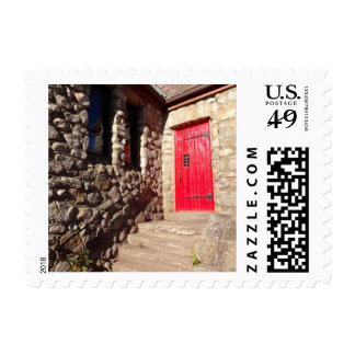 Red Door On Old Stone Christian Church Stamp