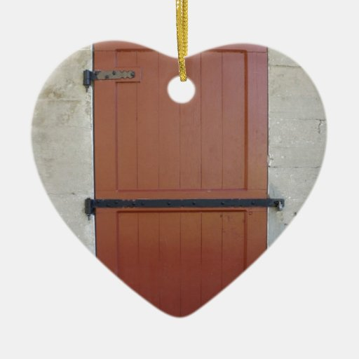 Red Door Double-Sided Heart Ceramic Christmas Ornament