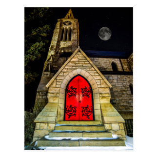 Red Door to Church with Moon Postcard