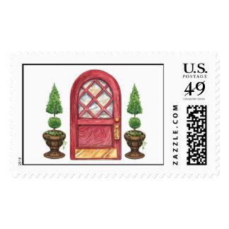Red Door Topiary Welcome New Address Stamp