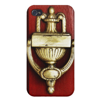 Red Door With Antique Brass Knocker iPhone 4/4S Cover