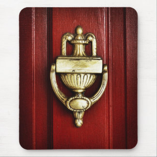 Red Door With Antique Brass Knocker Mousepad