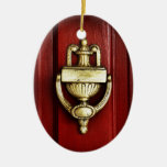 Red Door With Antique Brass Knocker Double-Sided Oval Ceramic Christmas Ornament