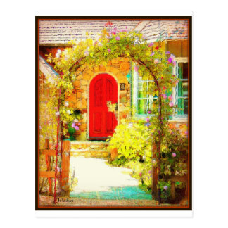 Red Door with Floral Gate Postcard