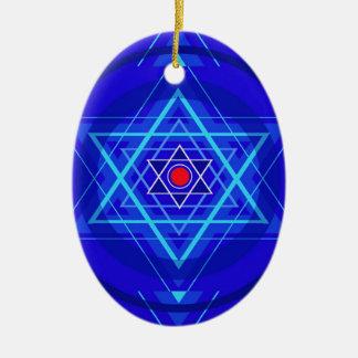 Red dot and the bluish Jewish Stars. Ceramic Ornament