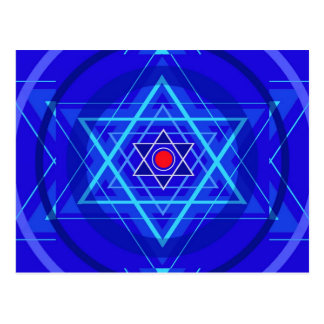 Red dot and the bluish Jewish Stars. Postcard