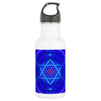Red dot and the bluish Jewish Stars. Water Bottle
