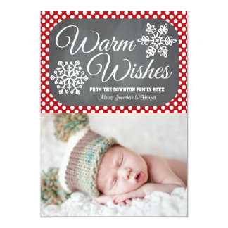 Red Dot Chalkboard Snowflake Holiday Photo Card Personalized Invites