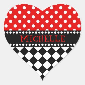 Red Dot Checkerboard Heart Sticker